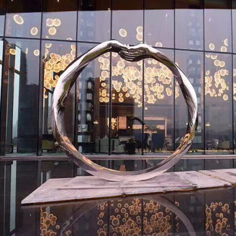 Customized Public Stainless Steel Hand and Circle Sculpture