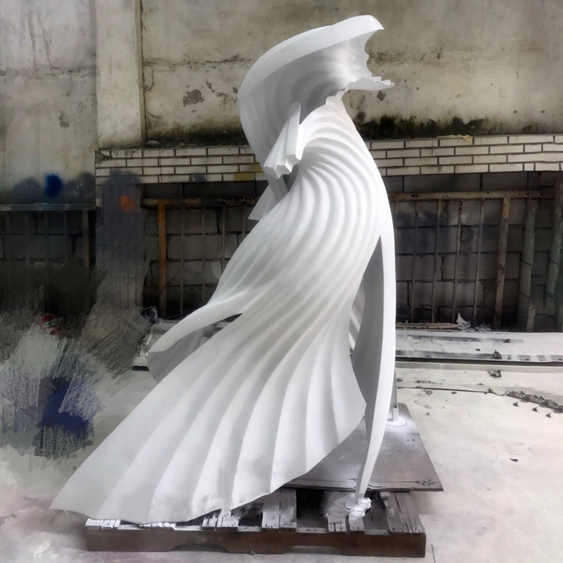 Factory custom stainless steel white modern sculpture