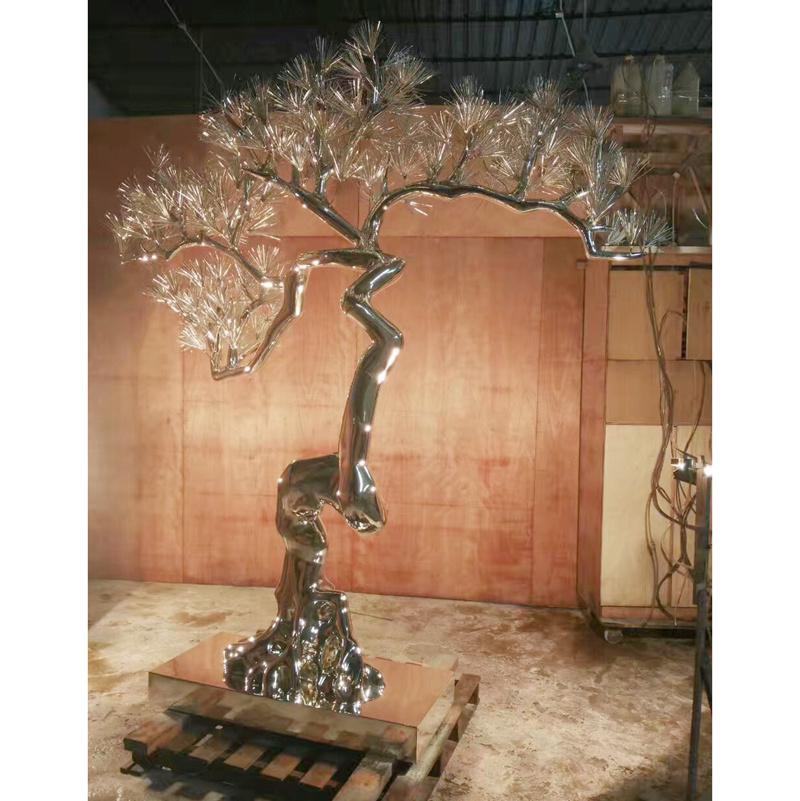 Popular Designs Modern Stainless Steel Tree Decoration Sculpture