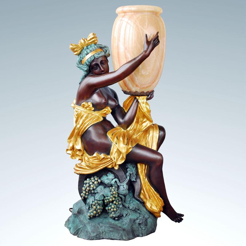 Garden Profession Antique Nude Female Bronze Lamp Sculpture