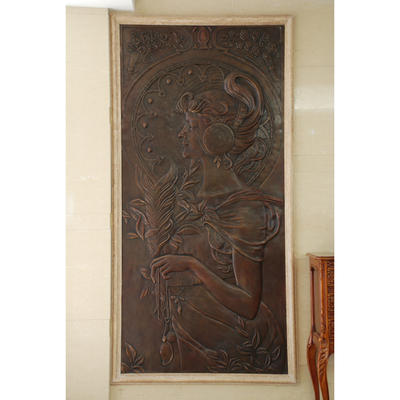 China supplier indoor home decorative bronze girl wall relief sculpture