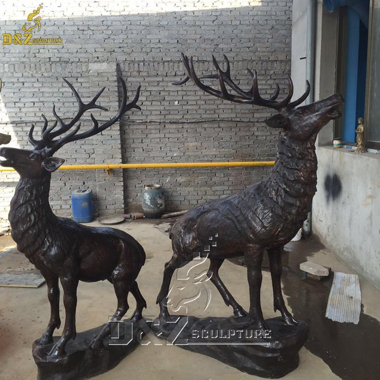 Outdoor bronze elk  yard statue life size