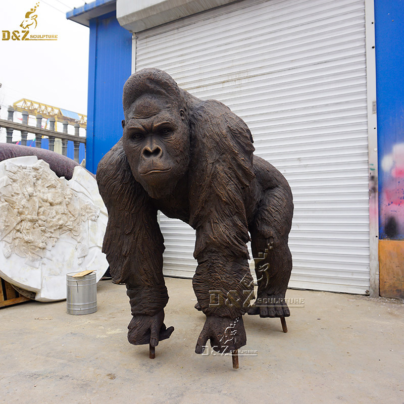 life size bronze gorilla outdoor yard statue for sale