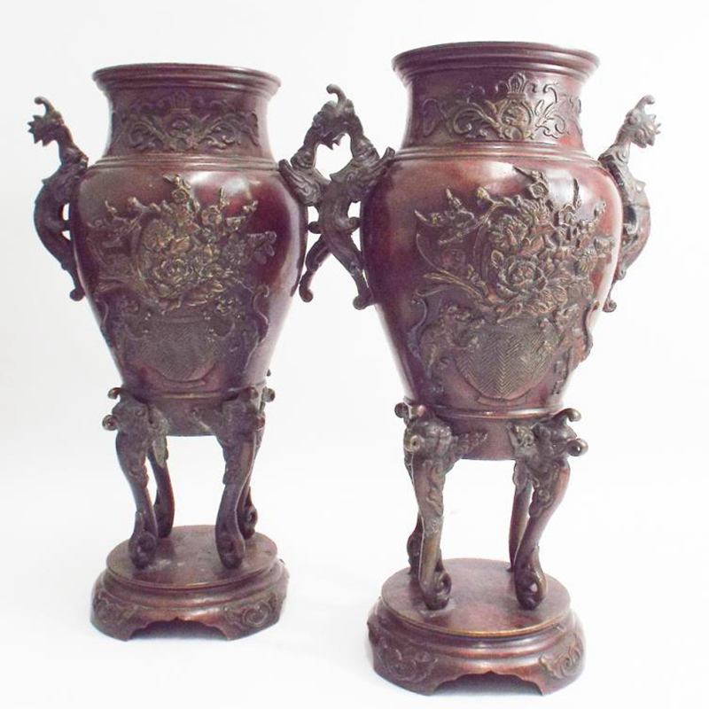 Antique bronze flowerpot sculpture for decoration