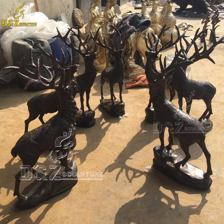bronze elk yard statues