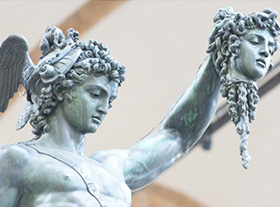 One famous cast bronze statue during Renaissance of David, his whole body is nude