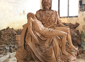 The bronze Pieta bronze sculpture, respected crucified son laying in Mary's arms