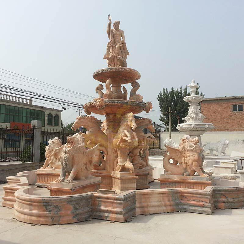 Natural Stone Fountain with Lions and Fish