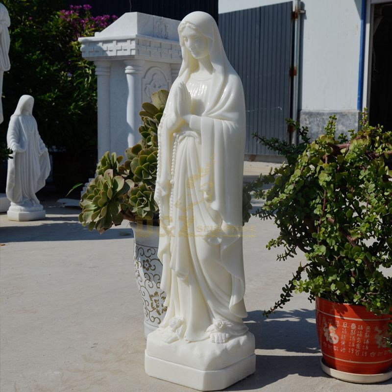 Virgin Mary White Marble Sculpture