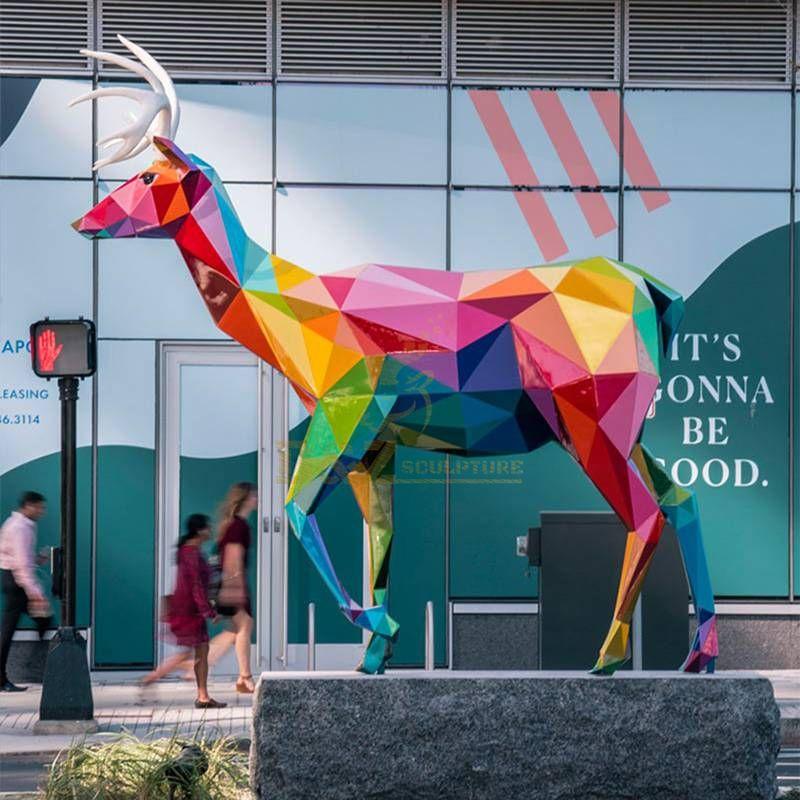 Large Deer Stainless Steel Metal Garden Animal Sculpture