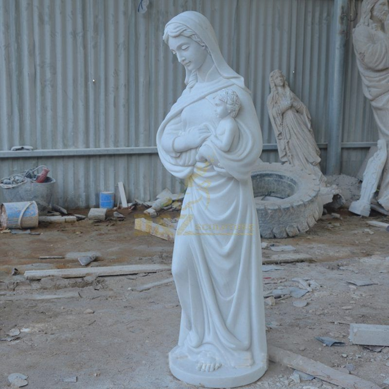 Marble Mary with Child Figure Sculpture
