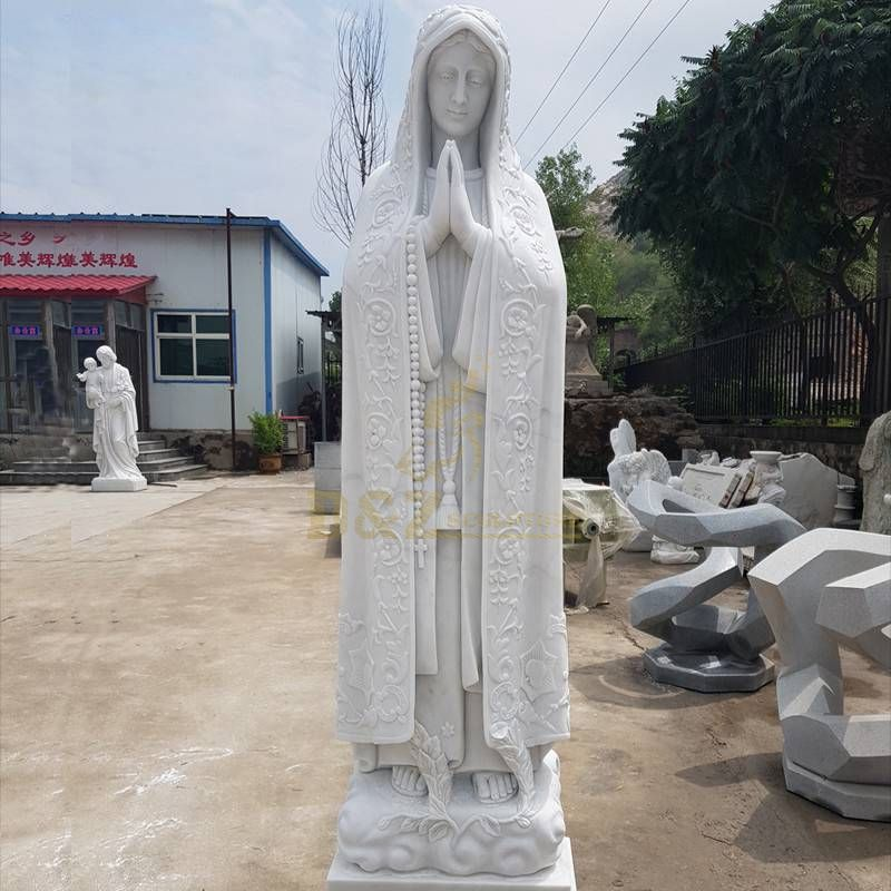 White Marble Virgin Mary Garden Statue