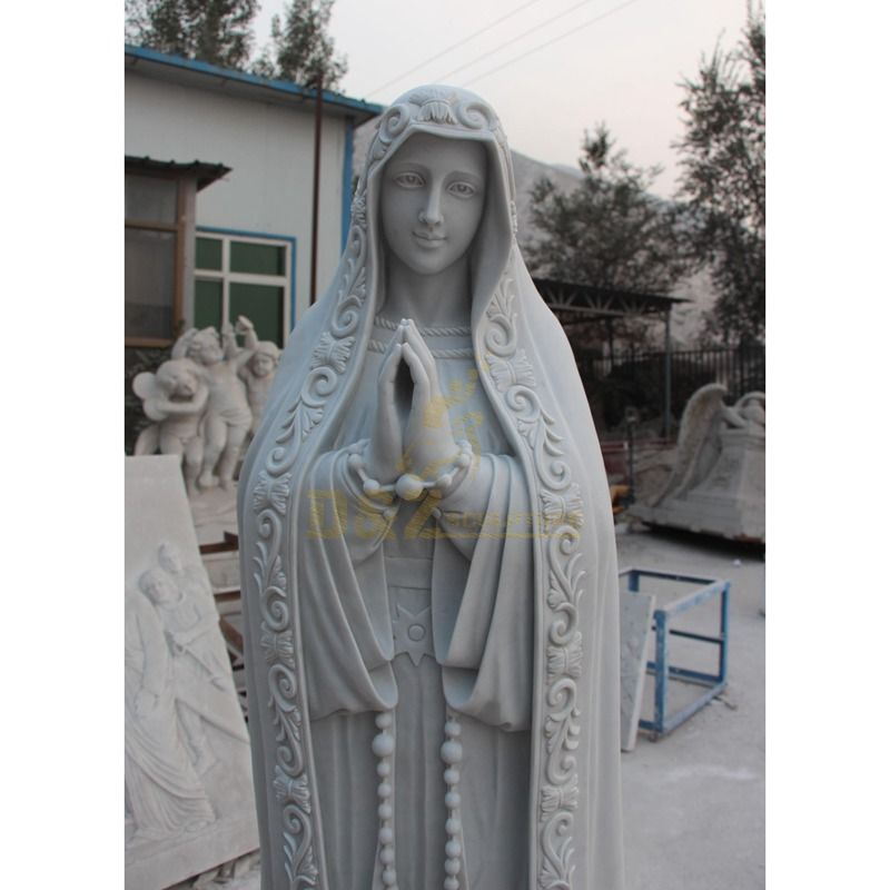 White Marble Virgin Mary Garden Statue