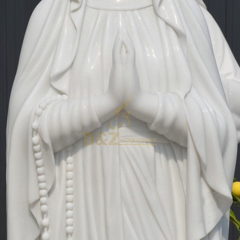 Outdoor White Marble Blessed Virgin Mary Statue