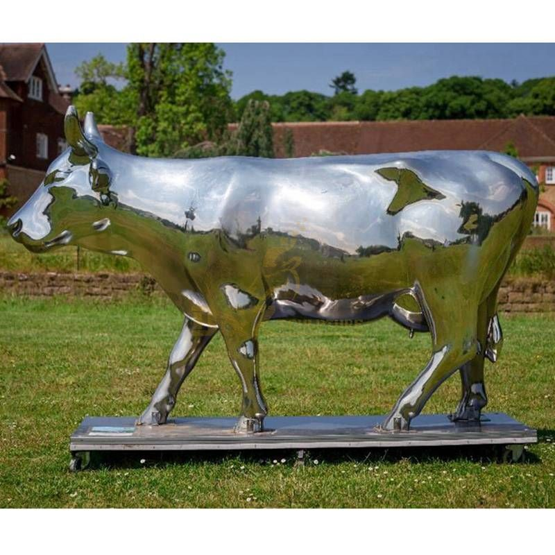 Stainless Steel Mirror Plated Animals Cow Sculpture
