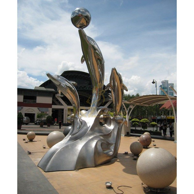 Modern Abstract Stainless Steel Dolphin Sculpture