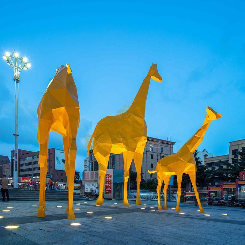 Outdoor Stainless Steel Metal Giraffe Sculpture