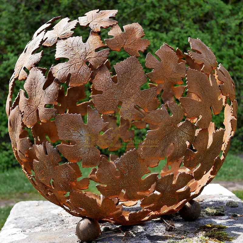 Metal Fountain Hollow Corten Steel Ball Sculpture