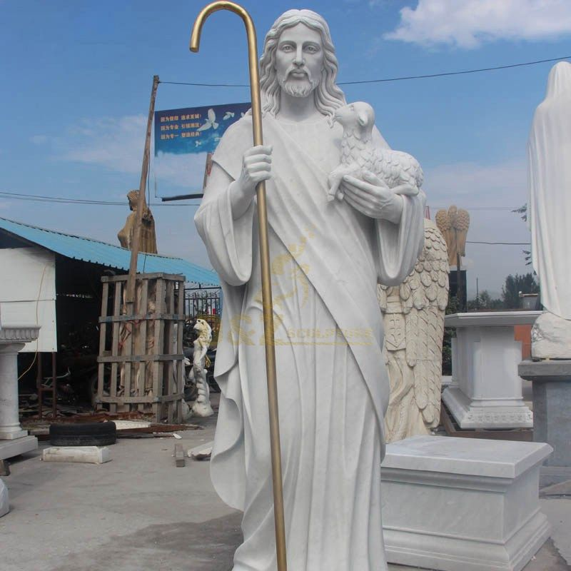 Hand Carved Religious Sculpture Jesus With Lamb Statue