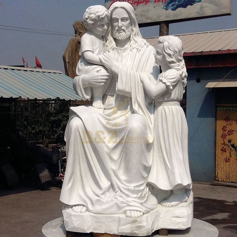 Religious Marble Mary And Baby Jesus Statue