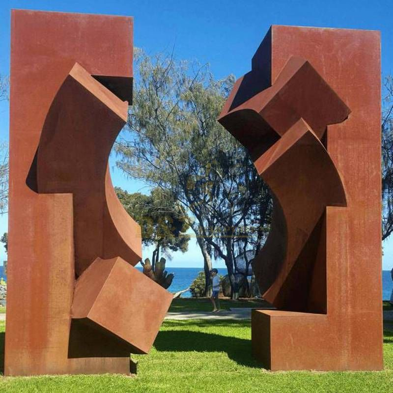 Large Geometric Garden Corten Steel Sculpture