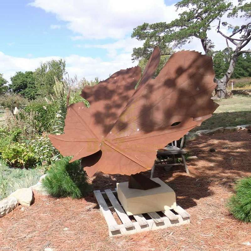Modern Statue Park Corten Steel Leaves Sculpture