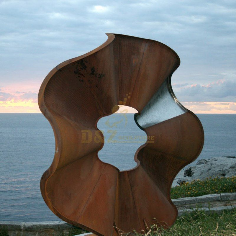 Curved Round Corten Steel sculpture