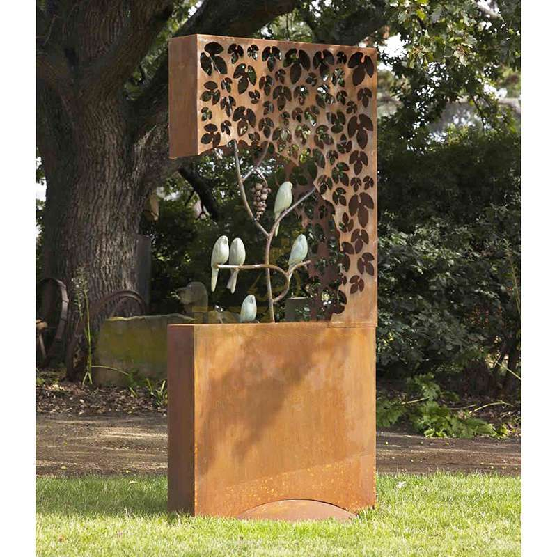 Outdoor Hollow Birds Tree Stainless Steel Corten Sculpture
