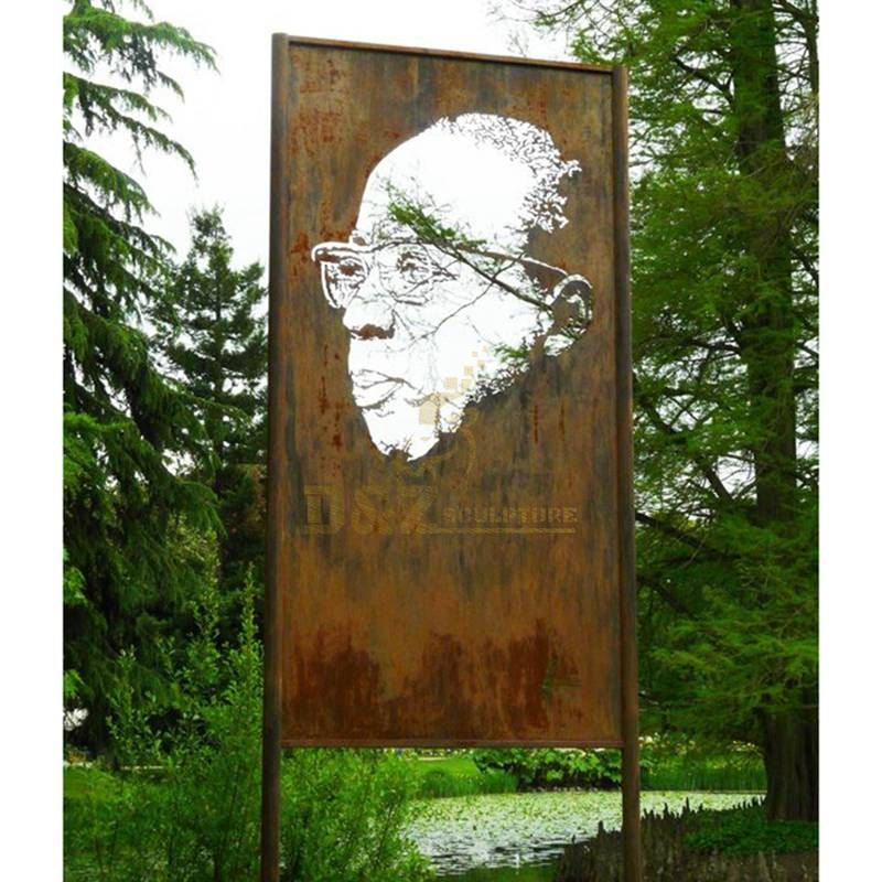 Outdoor Portrait Figure Stainles Steel Corten Metal Screen