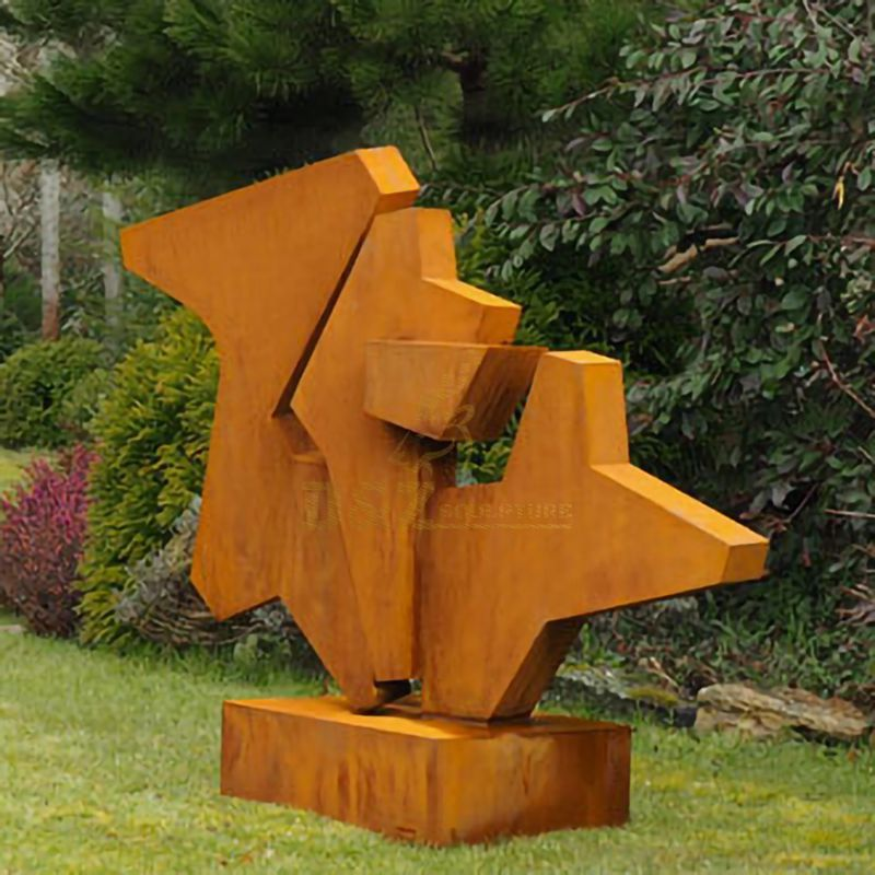 Geometric pattern welding corten steel outdoor sculpture