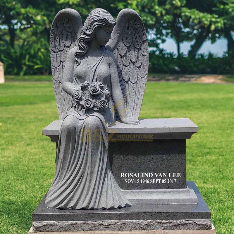 Life Size Weeping Angel Marble Tombstone Statue