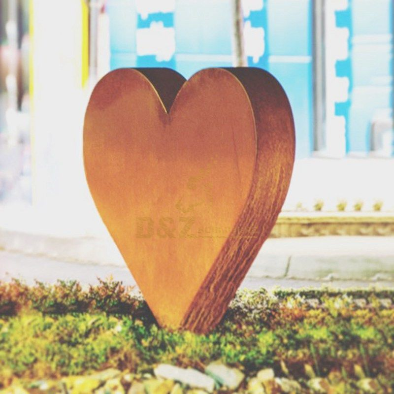 Outdoor Garden Decoration Corten Steel Heart Sculpture