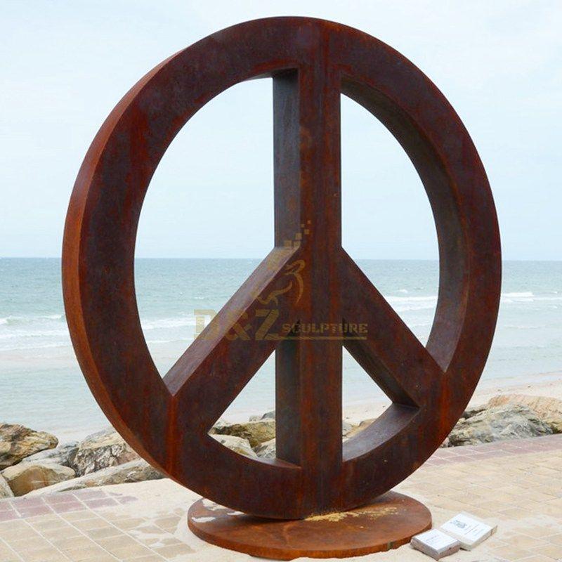 Large Circle Metal Sphere Corten Steel Sculpture For Sale