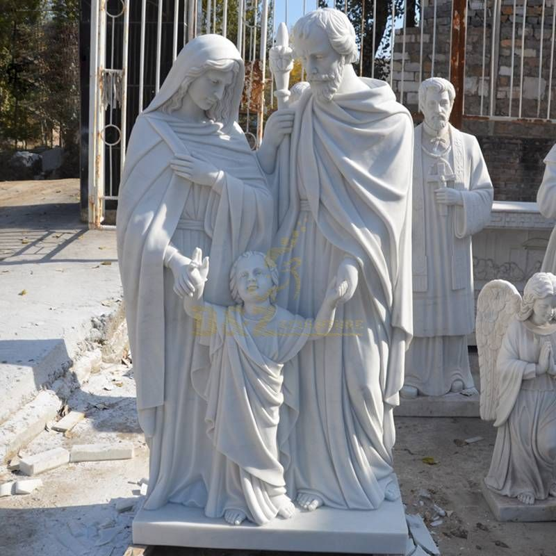 Carved Marble Stone Catholic Religious Holy Family Statue