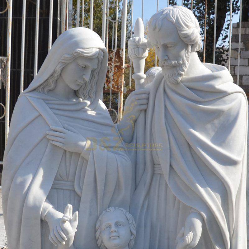 Carved Marble Stone Catholic Religious Holy Family Statue