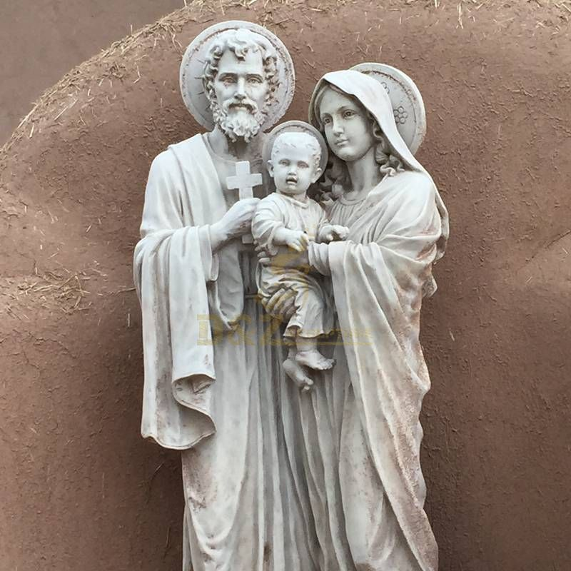 Stone Handicraft Holy Family With Baby Jesus Figurine Catholic Sculptures