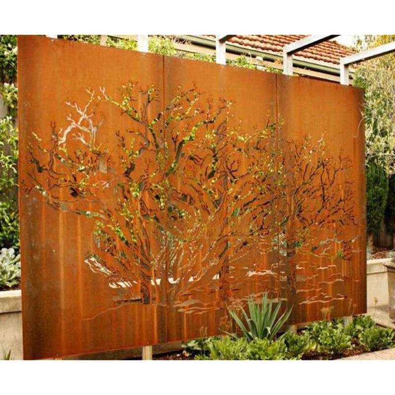 Metal Wall Decorative Corten Steel Garden Screen Sculpture