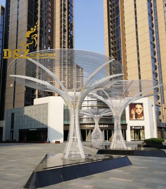 Outdoor Large Modern Metal Tree Stainless Steel Sculptures
