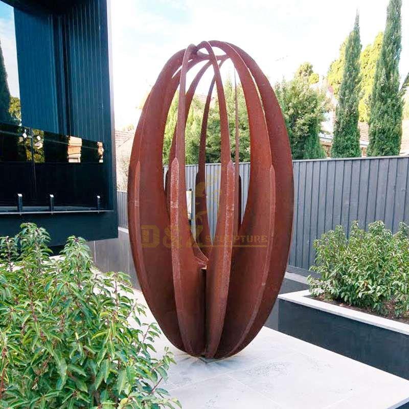 Ball Sculpture Outdoor Corten Steel Rusty Sphere