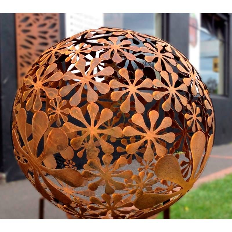 Metal Hollow Corten Steel Ball Sculpture