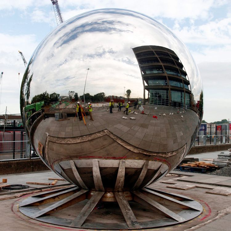 Urban Large Outdoor Stainless Steel Egg Ball Sculpture For Sale