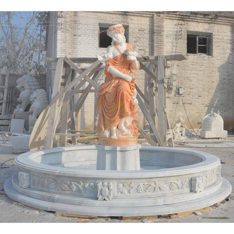 Marble Garden Water Fountain With Woman Statue