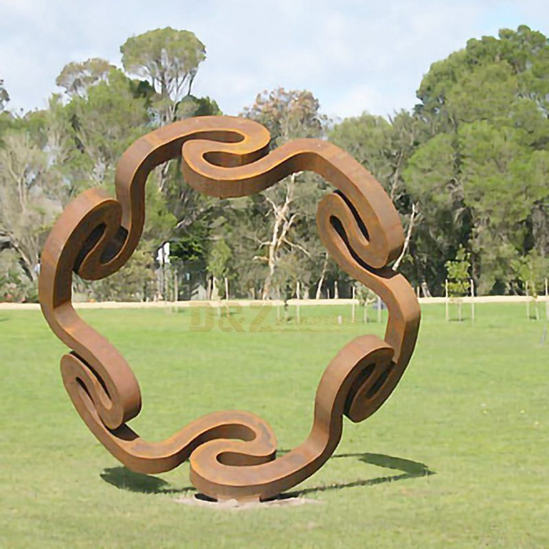 Large Size Curved Circle Corten Steel Sculpture