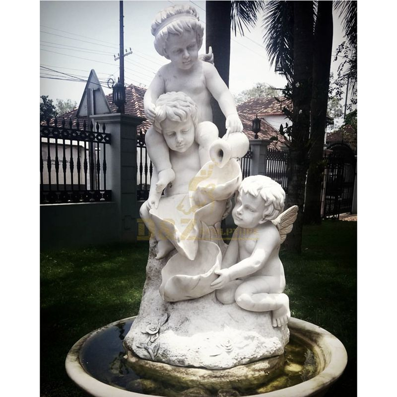 Vivid Two Child Stone Sculpture Water Fountain