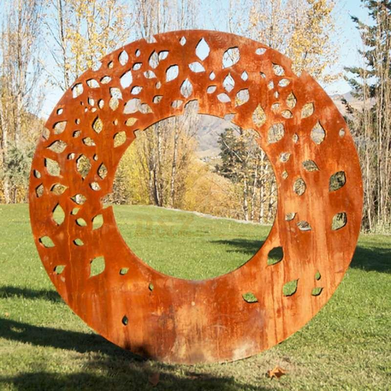 Abstract Modern Corten Steel Circle Sculptures