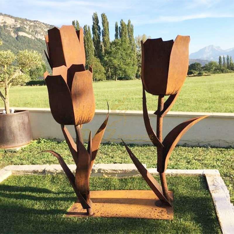 Garden Decoration Corten Steel Rose Sculptures
