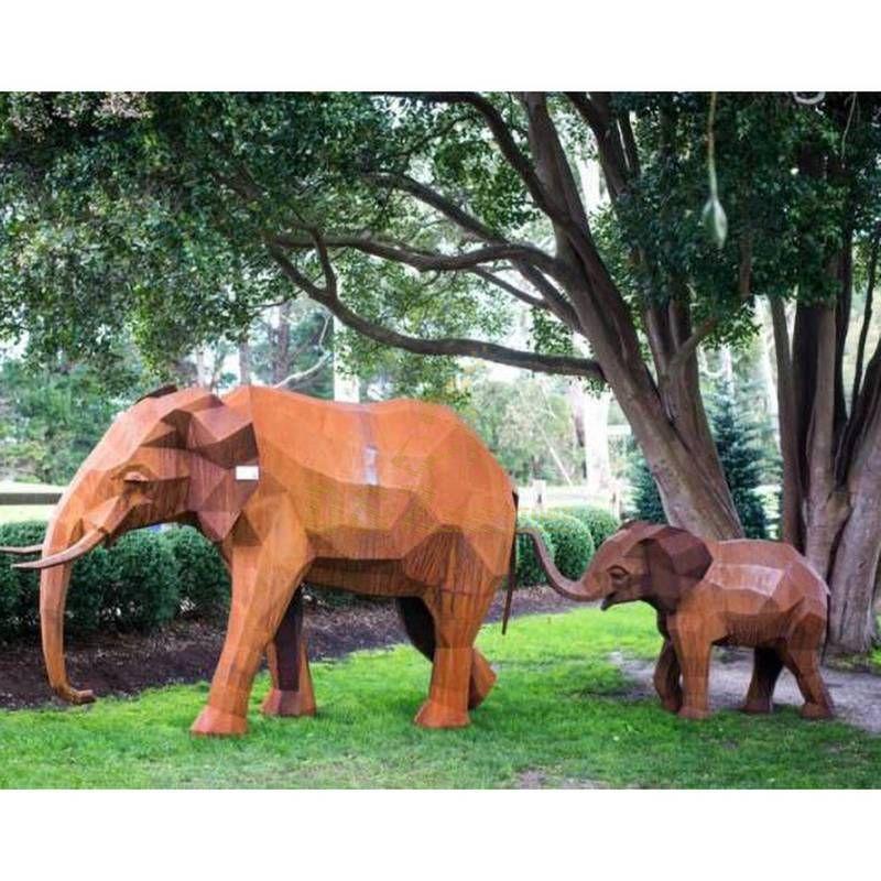 Large Corten Steel Abstract Elephants Garden Sculpture