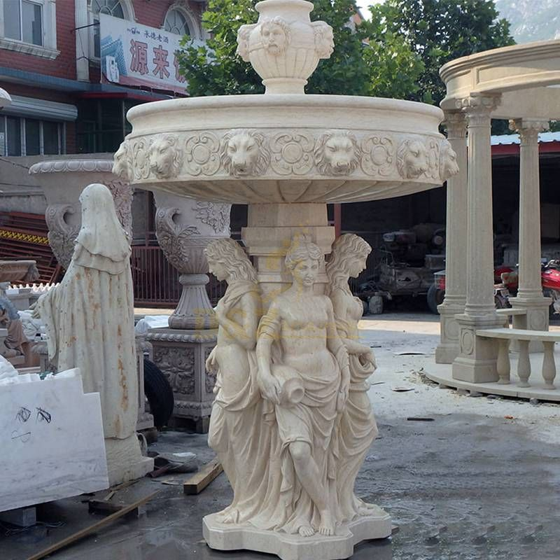 Hand Carved Woman Stone Beige Fountain