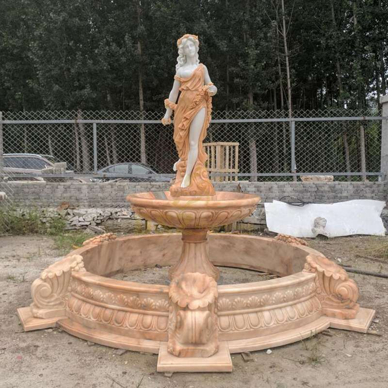 Hand Carved Garden Water Nude Woman Fountain