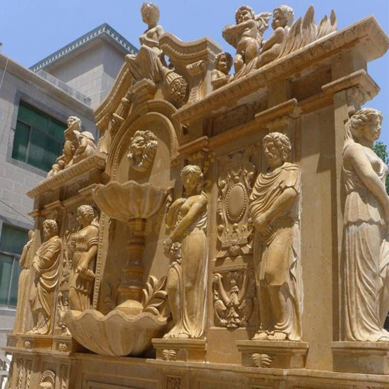 Garden Decoration Marble Water Wall Fountain With Lady Statue